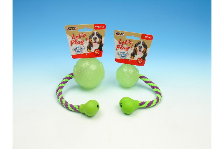 TPR Moonglow Multi-Textures Squeaky Ball with Rope