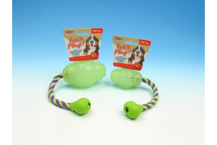 TPR Moonglow Multi-Textures Squeaky Bouncer with Rope