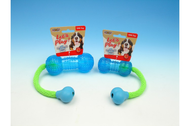 TPR Multi-Textures Squeaky Dumbbell with Rope