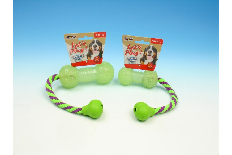 TPR Moonglow Multi-Textures Squeaky Dumbbell with Rope